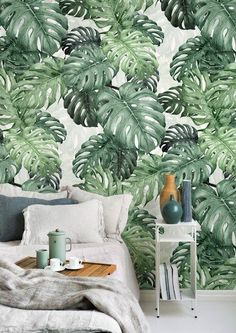 Botany Monstera – stylish, high-quality wallpaper with fast delivery – Photowall Tropical Home Decor, Tropical Interior, Tropical Design, Tropical Houses, Tropical Furniture, Tropical Wallpaper, Green Wallpaper, High Quality Wallpapers, Home And Deco