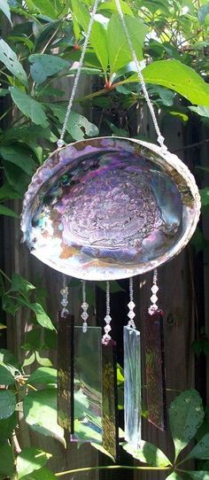 Abalone Shell Upcycled into a Windchime with Amethyst Stained Glass Chimes