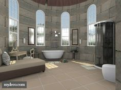 Bath in a Turret...a modern bathroom in the turret of an old castle.