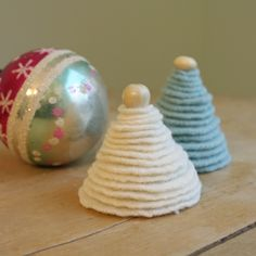 little tree ornaments from thrifted wool sweaters - from the blog the long thread