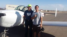Flight Student Josh is excited to be part of the Desert Aero Club! Flight Instructor Mr. Larry Clever taking him up for flight instruction in the Ercoupe