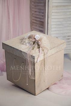 Κουτί βάπτισης για κορίτσι φυσικό ξύλο με vintage διακόσμηση