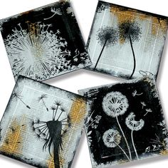 The dandelion is the only flower that represents the 3 celestial bodies of the sun, moon and stars. The yellow flower resembles the sun, the puff ball resembles the moon and the dispersing seeds resemble the stars.  Dandelion Handmade Glass Coaster Set from Upcycled Dictionary page book art - WilD WorDz - Wishing Wordz. $34.00, via Etsy.