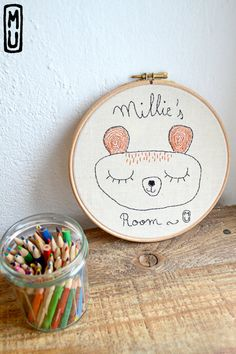 Custom Wall art/Embroidered hanging/ Nursery Decor/wall art/Custom Baby shower gift/ 8 inches/ Made in order / OOAK