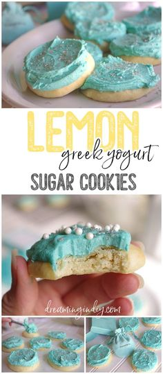 Soft Lemon Greek Yogurt Sugar Cookies with Tiffany Blue Lemon Buttercream Frosting Recipe by Dreaming in DIY - These are SO yummy and the dreamiest texture! This is about to become your new favorite sugar cookie recipe to frost for every holiday. You'll want to eat the frosting by the spoonful!