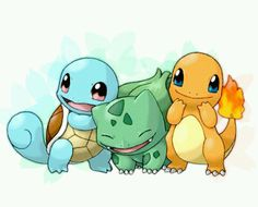 Squirtle, bulbasaur & charmander