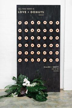 wedding donut wall with greenery Wedding Reception Planning, Budget Wedding, Fall Wedding, Our Wedding, Dream Wedding, Wedding Suite, Wedding Donuts, Wedding Signage, Sparklers