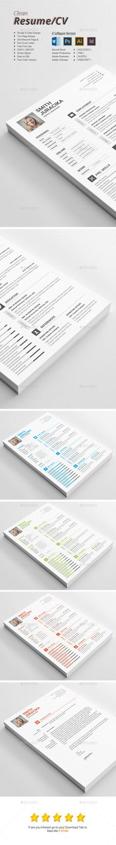 Flat and Clean Resume Fonts, Cv design and Resume cv - font on resume