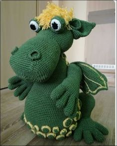 Spiral Crochet, Crochet Dragon, Crochet Bunny, Crochet Animals, Free Crochet, Crochet Patterns Amigurumi, Amigurumi Doll, Crochet Monsters, Dragon Pattern
