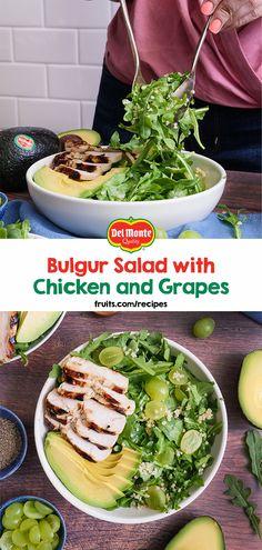 Bulgur Salad with Chicken and Grapes – Del Monte Fresh Produce N., Inc - Bulgur Salad Broccoli Salad Bacon, Bacon Salad, Veggie Recipes, Salad Recipes, Honey Lime Dressing, Bulgur Salad, Savory Salads, Dessert Salads, 30 Minute Meals