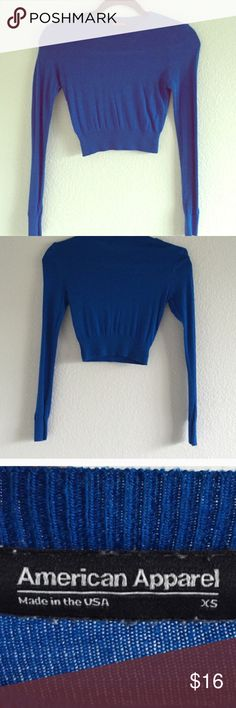 American Apparel royal blue crop top XS American Apparel royal blue crop top XS. Re-posh as it's too tight for me.  Let my loss be your gain! American Apparel Tops Crop Tops