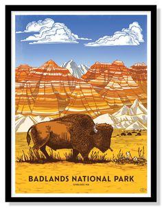 Vintage Poster Badlands National Park Poster – Fifty-Nine Parks - Six color screen printed poster by Camp Nevernice. on 100 Everglades National Park, Badlands National Park, Us National Parks, Yosemite National Park, Poster Retro, Poster Art, Vintage National Park Posters, Us Park, Wpa Posters