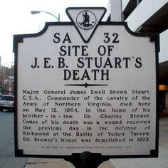 Site of J. E. B. Stuart's Death Marker Richmond VA
