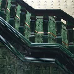 """Slippery when wet! The first-class men's staircase at an Edwardian """"water palace"""" in Manchester, England. Slippery When Wet, Manchester England, Victorian Interiors, Palace, Art Nouveau, Architecture Design, Ceramics, Photo And Video, Water"""