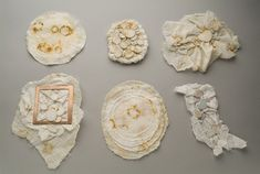 "Nikky Bergman, ""Stain"" Brooch Series, Cotton gauze, rust, thread, copper, sterling silver  2006"