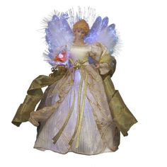 Fiber Optic LED Angel Holiday Christmas Treetop Figurine 12 inch Ivory Gold