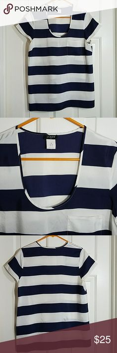 "J. Crew Silk Flowy Top Blue and white stripes. Amazing condition. Top pocket.  18.5"" armpit to armpit, 25"" long. J. Crew Tops"