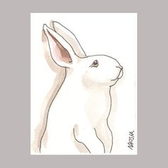 Original Mini Art  Ink and Watercolor  Rabbit 10 by bluedogrose, $5.00