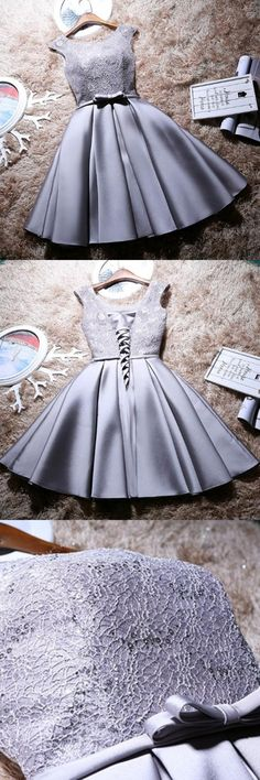 A-Line Homecoming Dresses,Bateau Homecoming Dresses,Cap Sleeves Homecoming Dresses,Short Homecoming Dresses,Grey Homecoming Dresses,Satin Homecoming Dresses,Bow knot Homecoming Dresses,Lace Bodice Homecoming Dresses,Lace Up Homecoming Dresses,Homecoming Dresses 2017