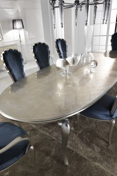The Silver Leaf Dining Set Including Navy Blue Velvet Chairs Is A Truly Enchanting Table