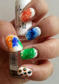 Independence Day Mani #independence #day #marble #white #green #saffron #blue