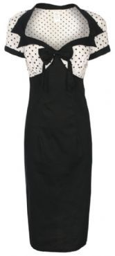 CHIC VINTAGE 1950's STYLE BLACK + POLKA DOT PENCIL WIGGLE DRESS