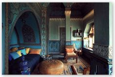 blue room - shows how well blue pairs with camel and gold tones