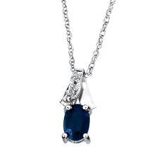Dije con cadena oro blanco14k con medio punto de diamante y 65 puntos de zafiro $2,405.00