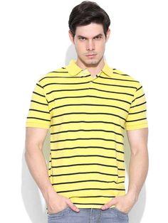 Dream of Glory Inc. Yellow Striped Polo T-shirt
