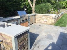 Outdoor kitchen grill, with bluestone countertop Nantucket