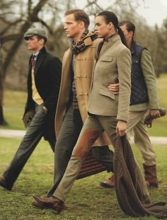 men (and one woman), Ralph Lauren style English Country Fashion, British Country Style, English Style, British Style Outfits, Mode Masculine, Moda Preppy, Country Attire, Country Outfits, Ralph Lauren