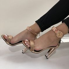 Silver Heels, Life Is Short, Chunky Heels, Watch Bands, Block Heels, Open Toe, Ankle Strap, Patent Leather, Stiletto Heels