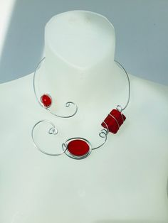 RED CONTEMPORARY NECKLACE, Open necklace, Aluminium wire necklace, Wire wrapped necklace, Red modern necklace, Design jewelry, Women gift Red Necklace, Collar Necklace, Earrings, Cardboard Jewelry Boxes, Red Jewelry, Wire Wrapped Necklace, Necklaces, Bracelets, Contemporary