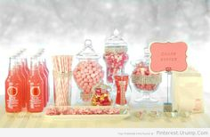 party candy table ideas – Spring Wedding Idea- Pink Candy Buffet Table – The Gunny Sack