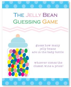 Printable jelly bean guessing game for a baby shower or any party! Baby shower games