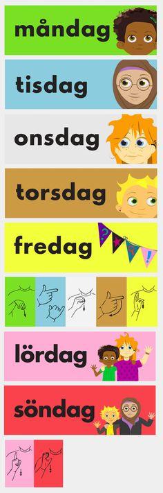 Veckodagarna mån-sön – x 5 Creative Writing Ideas, Writing Tips, Learn Swedish, Teacher Hacks, Writing Inspiration, Fun Activities, Kids Learning, Kindergarten, Preschool