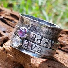 Personalized mothers ring- Sterling silver ring- Birthstone ring- spinner ring- fidget ring- fiddle worry ring- eco friendly ring