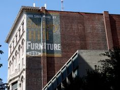 Society Hill Furniture, Wurlitzer Piano, others « Ghost Sign Project Terrazzo, Vintage Walls, Billboard, Brick, Multi Story Building, Signs, Furniture, Poster Wall