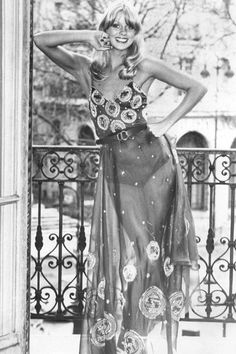 1970s Fashion: 27 Moments That Defined Seventies Style:  Before Karl Lagerfeld ran Chanel, he had a fashion company called Chloe.  He brought the first boho trend to fashion with swimwear such as this, that continues with Chanel to this day.  LOVE this look!  #KarlLagerfeld #Chanel #Boho