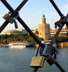 Padlock of love Seville Spain