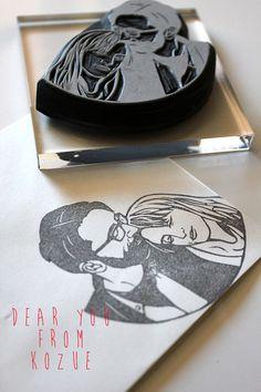 Couple portrait hand carved rubber stamp - sollen wir einen für Tina und el Guappo machen?