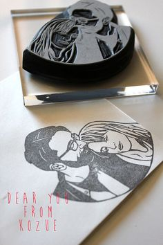 Couple portrait hand carved rubber stamp - will be perfect for invitations, thank you note etc.. I must have this!!