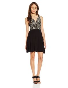 Derek HeartJuniors' Crochet-Bodice Skater Dress