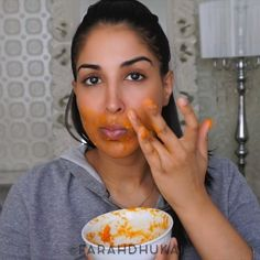 WEBSTA @ farahdhukai - GET RID OF FACIAL HAIR! This recipe will STOP hair from growing back!All you need is PAPAYA TURMERIC(you can store extra's in the fridge for later use) -mash (or blend) papaya with a pinch of turmeric-massage onto unwanted hairy areas (mustache, chin etc) for a few mins-let dry COMPLETELY-wash off with lukewarm water i dont do this everyday, but i do it often #damnfarahbackatitagainwiththeturmericPapaya contains an enzyme called Papain which weakens the hair...
