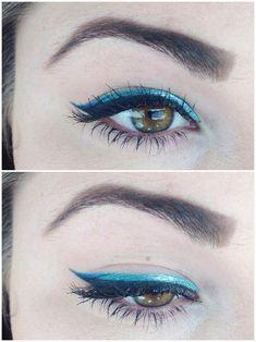 Crayon Eyeliner, Khol Eyeliner, Winged Eyeliner Tutorial, Winged Liner, Eye Liner, Eyeshadow For Green Eyes, Blue Eyeliner Looks, Eye Makeup, Hair Makeup