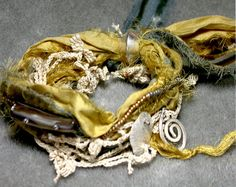 Ancient Tribe Silk Cuff with Precious Silver Charms