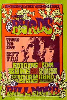 The Byrds at the Fillmore - concert poster artwork by Jim Blashfield