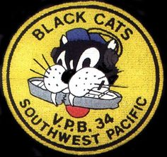 VP-34 Black Cat squadron logo (Established as Patrol Squadron THIRTY-FOUR (VP-34) on 16 April 1942. Redesignated Patrol Bombing Squadron THIRTY-FOUR (VPB-34) on 1 October 1944. Disestablished on 7 April 1945).