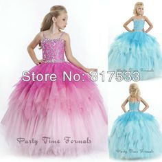 Ombre Shining Spaghetti Straps Rhinestone Long Floor Length 2014 Cupcake Dress Tulle Ballgown Girls Beauty Pageant Dresses
