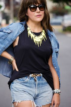 Summer Basics: Denim + black + neon
